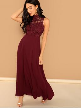 Glamorous A Line Plain Fit and Flare Flared Stand Collar Sleeveless High Waist Burgundy Maxi Length Guipure Lace Bodice Sleeveless Solid Maxi Dress