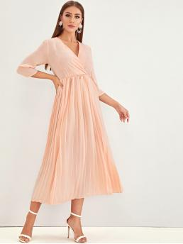 Elegant A Line Plain Pleated V neck Three Quarter Length Sleeve Regular Sleeve High Waist Pink Long Length Solid Surplice Front Pleated Dress