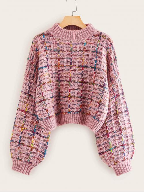 Casual Pullovers Regular Fit Stand Collar Long Sleeve Bishop Sleeve Pullovers Pink Crop Length Mock-neck Boucle Knit Sweater