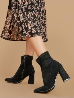 Glamorous Other Point Toe Plain Side zipper Black High Heel Pointed Toe Block Heel Sock Booties