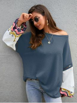 Casual Tribal Oversized Round Neck Long Sleeve Bishop Sleeve Pullovers Navy Regular Length Tribal Print Contrast Lantern Sleeve Tee