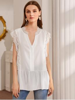 Casual Plain Peplum Regular Fit Notched Cap Sleeve Pullovers White Regular Length Notch Neck Contrast Lace Blouse