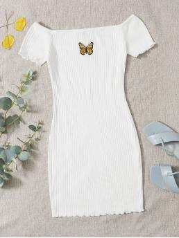 Sale White Animal Rib-knit off the Shoulder Embroidered Butterfly Graphic Ribbed Dress