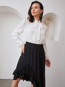 Ladies Long Sleeve Shirt Pleated Polyester Detail Solid Blouse