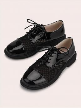 Womens Black Oxfords Round Toe Mesh Patent Leather Fishnet Oxford Shoes