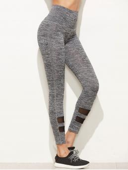 Sporty Regular Plain Grey Cropped Length Marled Empire Leggings With Mesh Panel Detail
