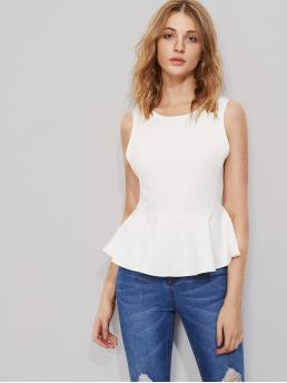 Sexy Plain Top Slim Fit Scoop Neck Sleeveless White Bow Embellished Scoop Back Peplum Top