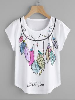 Casual Letter Regular Fit Round Neck Short Sleeve Pullovers White Regular Length Aztec Feather Print Dolman Sleeve Tee