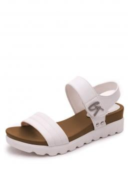 Ankle Strap Open Toe Flatform White Studded Detail Flat Sandals