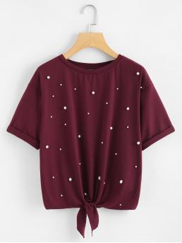 Casual Plain Regular Fit Round Neck Short Sleeve Roll Up Sleeve Burgundy Regular Length Pearl Embellished Knot Front Tee
