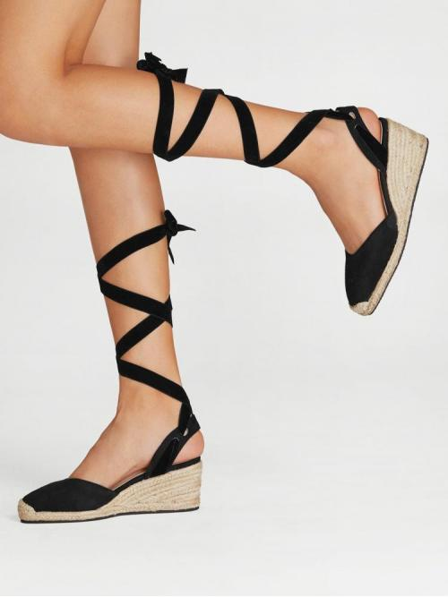 Corduroy Black Flatfrom Shoes Bow Lace up Espadrille Wedges Ladies