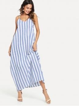 Boho Cami Striped Loose Spaghetti Strap Sleeveless Natural Blue Maxi Length V-Neck Pocket Side Striped Oversize Cami Dress