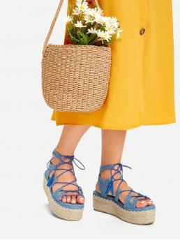 Ankle Strap Open Toe Flatform Lace Up Blue Espadrilles Tie Leg Wedge Sandals With Tassel