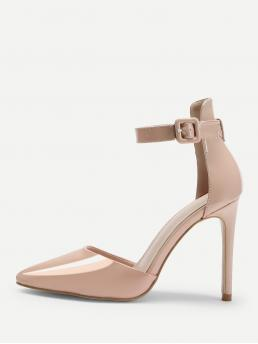 Ankle Strap Point Toe Pink High Heel Stiletto Two Part Buckle Heels