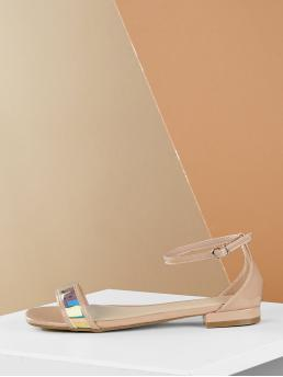 Casual Open Toe Ankle Strap Nude Low Heel Single Band Ankle Strap Metallic Flat Sandals