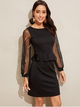 Black Plain Contrast Mesh Round Neck Embroidered Leaf Dobby Peplum Dress Clearance