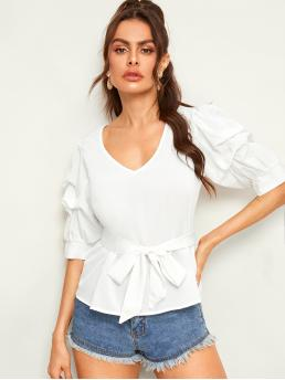 Elegant Plain Top Regular Fit V neck Half Sleeve Puff Sleeve Pullovers White Regular Length Gathered Sleeve Solid Belted Top with Belt