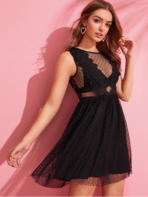 Boho and Glamorous A Line Plain Flared Regular Fit Round Neck Sleeveless High Waist Black Short Length Jacquard Mesh Overlay Lace Insert Dress Without Bra with Lining