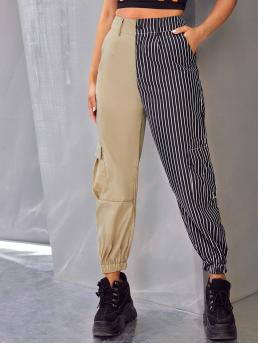 Casual Striped and Colorblock Cargo Pants Regular Button Fly High Waist Multicolor Long Length Two Tone Striped Cargo Pants