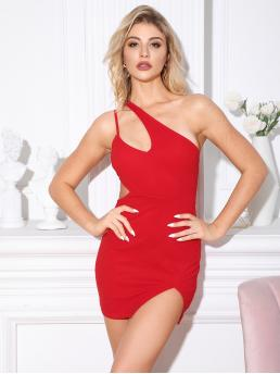 Sexy Bodycon Plain Pencil Slim Fit One Shoulder Sleeveless High Waist Red and Bright Mini Length Double Crazy One Shoulder Cut-out Slit Hem Dress