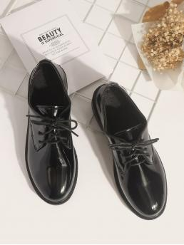 Black Oxfords Round Toe Pu Leather Patent Leather Derby Shoes Ladies
