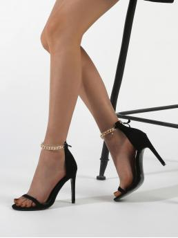 Pretty Black Strappy Sandals Chain High Heel Decor Heeled Sandals