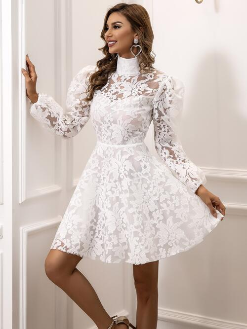 White Floral Zipper High Neck Embroidered Dress on Sale