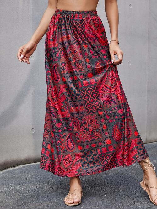 Multicolor High Waist a Line all over Print Skirt Affordable