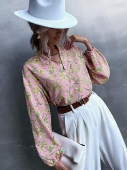 Clearance Long Sleeve Shirt Button Front Polyester Allover Blouse
