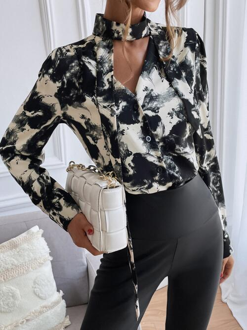 Long Sleeve Shirt Button Front Polyester Ink Painting Button up Blouse Discount