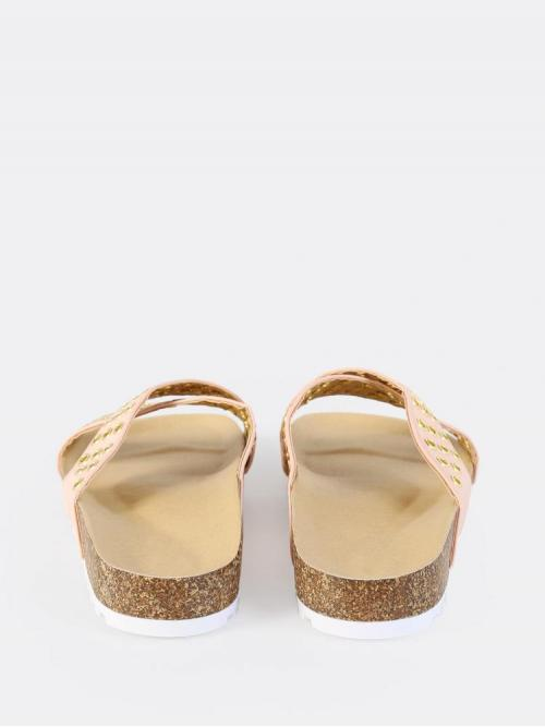 Corduroy Pink Strappy Sandals Studded Grommet Cross Band Sandals Pretty