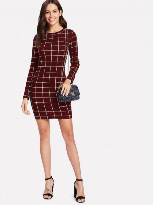 Burgundy Plaid Beaded Round Neck Grid Dress Shopping