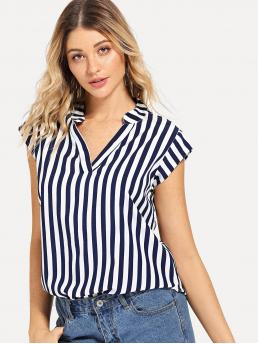 Clearance Cap Sleeve Top Striped Navy Blue Curved Hem Top