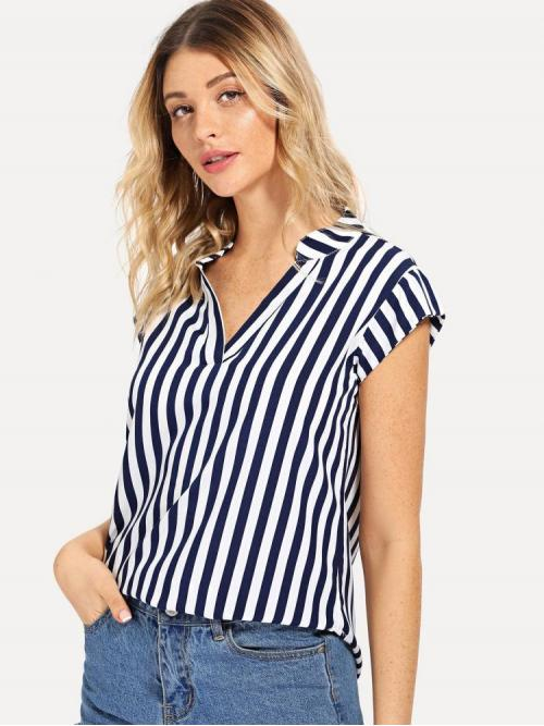 Cap Sleeve Top Ruffle Polyester Curved Hem Top Affordable