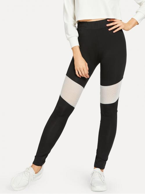 Clearance Black Natural Waist Asymmetrical Regular Two Tone Cut and Sew Leggings
