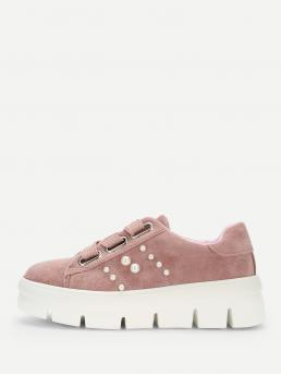 Other Round Toe Flatform Lace Up Pink Faux Pearl Detail Lace-up Chunky Sneakers