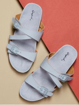Comfort Open Toe Strappy Blue Double Buckle Slide Footbed Sandals