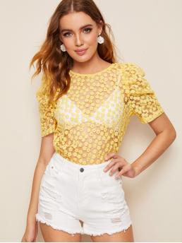 Sexy Floral Regular Fit Round Neck Short Sleeve Pullovers Yellow Regular Length Puff Sleeve Flower Embroidered Mesh Top Without Bra