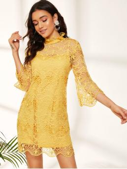 Romantic Fitted Plain Straight Loose Stand Collar Three Quarter Length Sleeve Flounce Sleeve Natural Yellow Short Length Ruffle Mock-neck Embroidered Mesh Dress with Lining