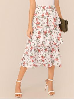 Boho Layered/Tiered Floral High Waist White Long/Full Length Wide Waistband Tiered Layer Floral Print Skirt