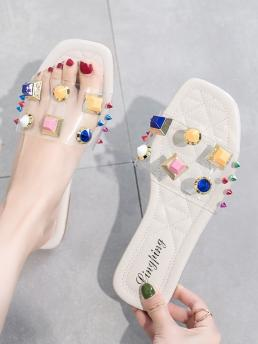 Comfort Open Toe Multicolor Colorful Studded Decor Flat Sliders
