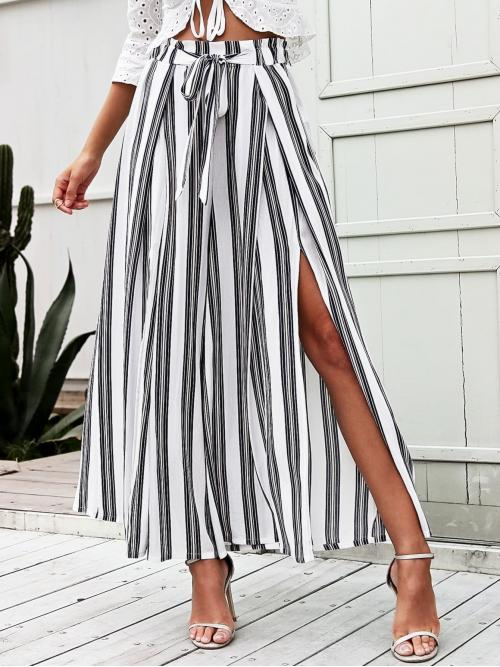 Boho Striped Wide Leg Loose Elastic Waist High Waist Black and White Cropped Length Simplee Split Thigh Tie Waist Striped Wide Leg Pants with Belt