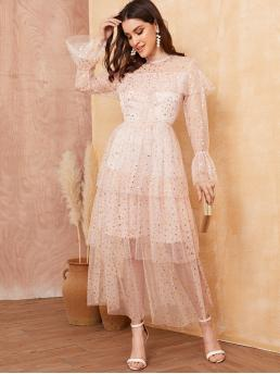 Romantic A Line Galaxy Layered/Tiered Regular Fit Stand Collar Long Sleeve Flounce Sleeve High Waist Pink Maxi Length Glitter Star Mesh Tiered Layer Dress with Lining