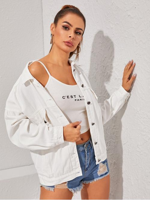 Casual Other Plain Oversized Collar Long Sleeve Regular Sleeve Single Breasted White Regular Length White Wash Button Up Denim Jacket