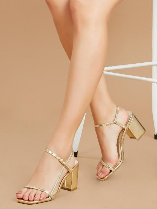 Business Casual Open Toe Plain Gold High Heel Chunky Metallic Multi Strap Chunky Heel Sandals