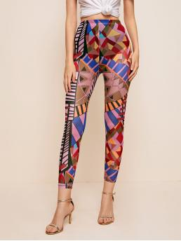 Sale Multicolor Sheer Regular all over Print Allover Print Leggings Without Panty