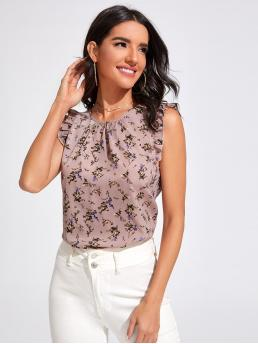 Discount Top Ruffle Polyester Floral Gathered Neckline Trim Top