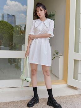 Ladies White Plain Ruffle Peter Pan Collar Solid Button Front Dress