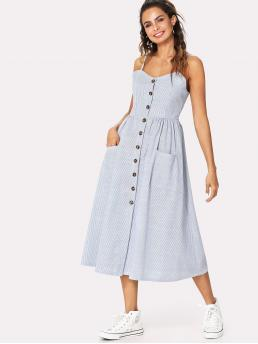 Casual Cami Striped Flared Loose Spaghetti Strap Sleeveless High Waist Blue Long Length Button Front Cami Dress