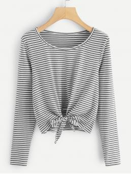 Casual Striped Regular Fit Round Neck Long Sleeve Pullovers Grey Regular Length Striped Knot Front Tee